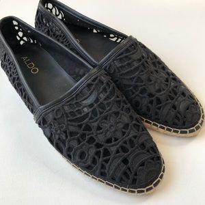 Aldo Black Lace Espadrilles Flats
